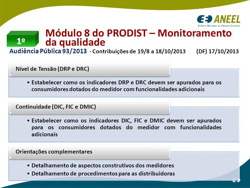 Módulo 8 do PRODIST – Monitoramento da qualidade Audiência Pública 93/2013 - Contribuições de 19/8 a 18/10/2013 (DF) 17/10/2013 1o1o