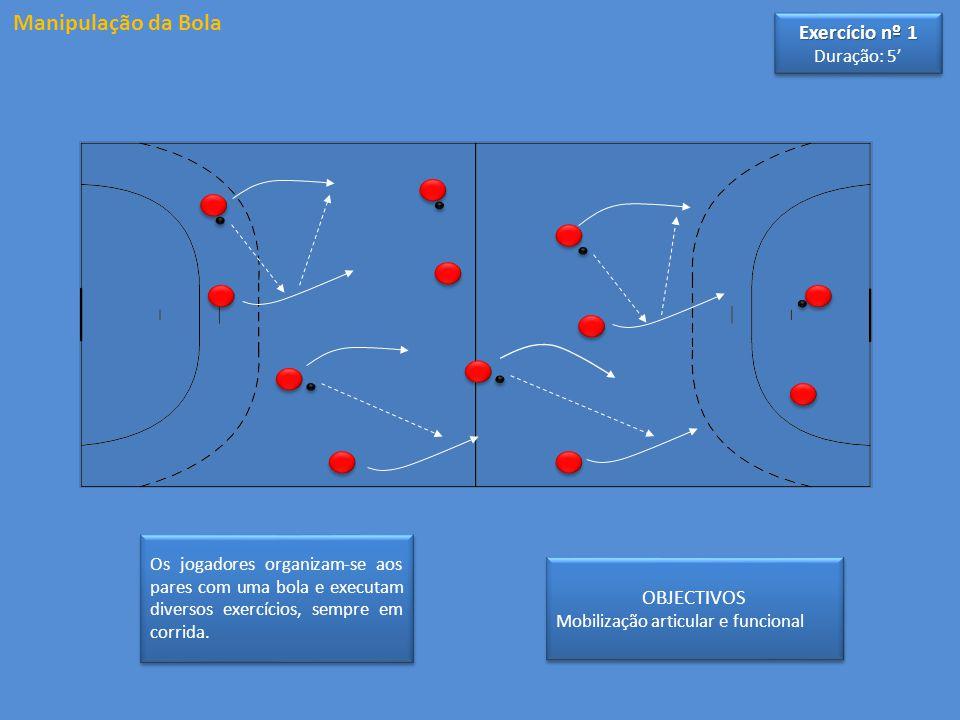 Manipulação da Bola OBJECTIVOS Mobilização articular e funcional OBJECTIVOS Mobilização articular e funcional Os jogadores organizam-se aos pares com