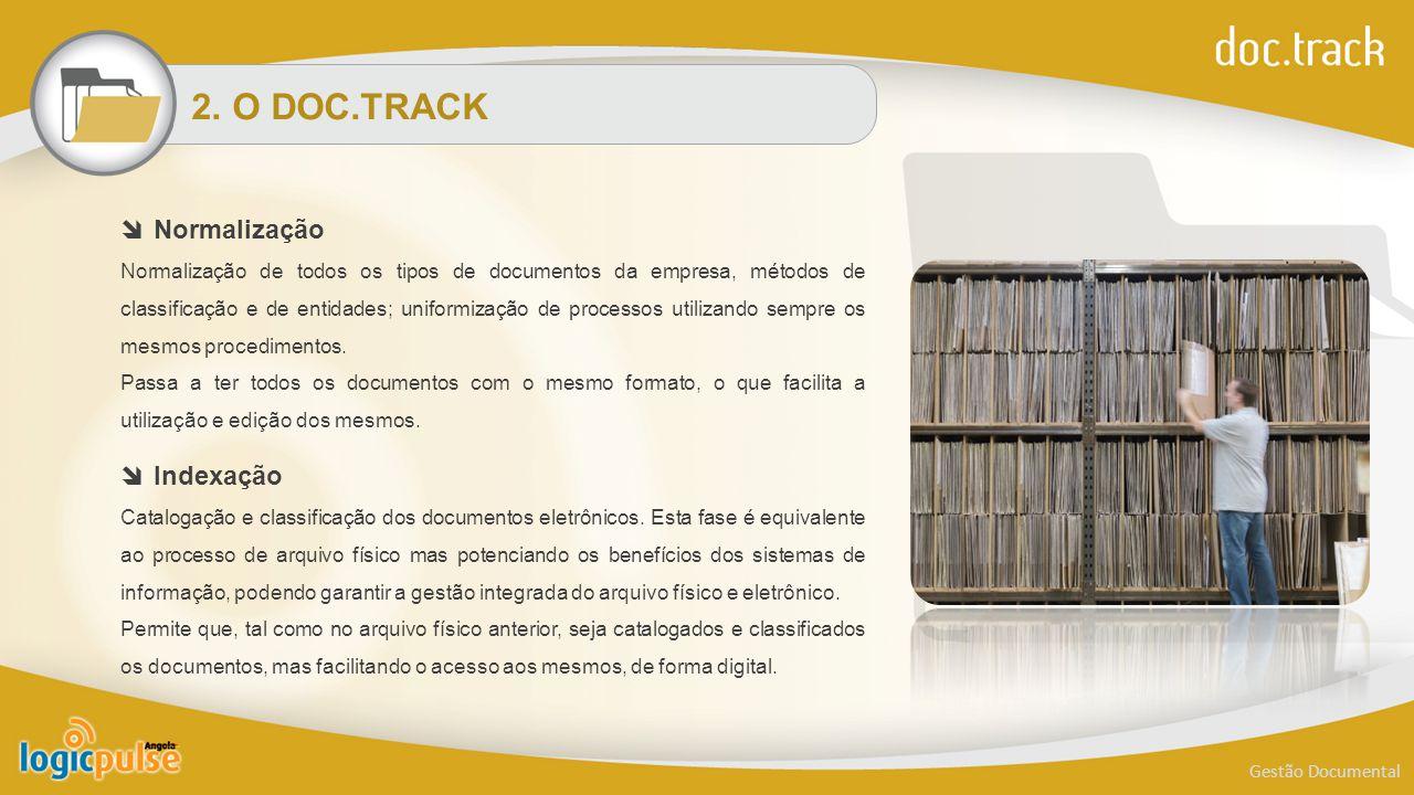 2. O DOC.TRACK Gestão Documental  Normalização Normalização de todos os tipos de documentos da empresa, métodos de classificação e de entidades; unif