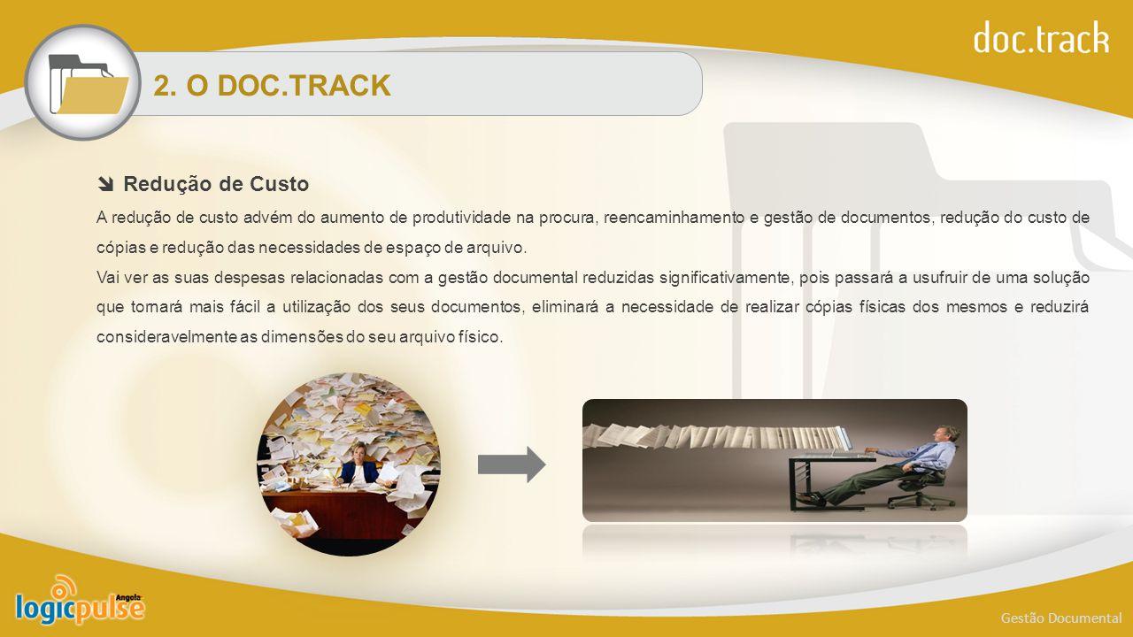 2. O DOC.TRACK Gestão Documental  Redução de Custo A redução de custo advém do aumento de produtividade na procura, reencaminhamento e gestão de docu