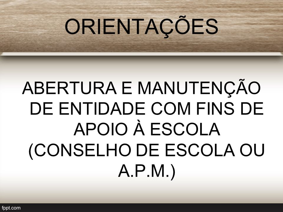Abertura 1) Reunião para criação e elaboração do estatuto; 2) Eleição da Diretoria; 3) Registro do Estatuto e da Ata de Eleição da Diretoria no Cartório de Registro de Pessoas Jurídicas; 4) Inscrição no CNPJ (Cadastro Nacional de Pessoas Jurídicas) junto à Receita Federal do Brasil - RFB; 4) Certificação Digital para o Diretor Executivo, representante legal da entidade perante a RFB; 5)Inscrição Municipal, AVCB (Corpo de Bombeiros) e Licenciamento Integrado (SIL) junto à Prefeitura Municipal.