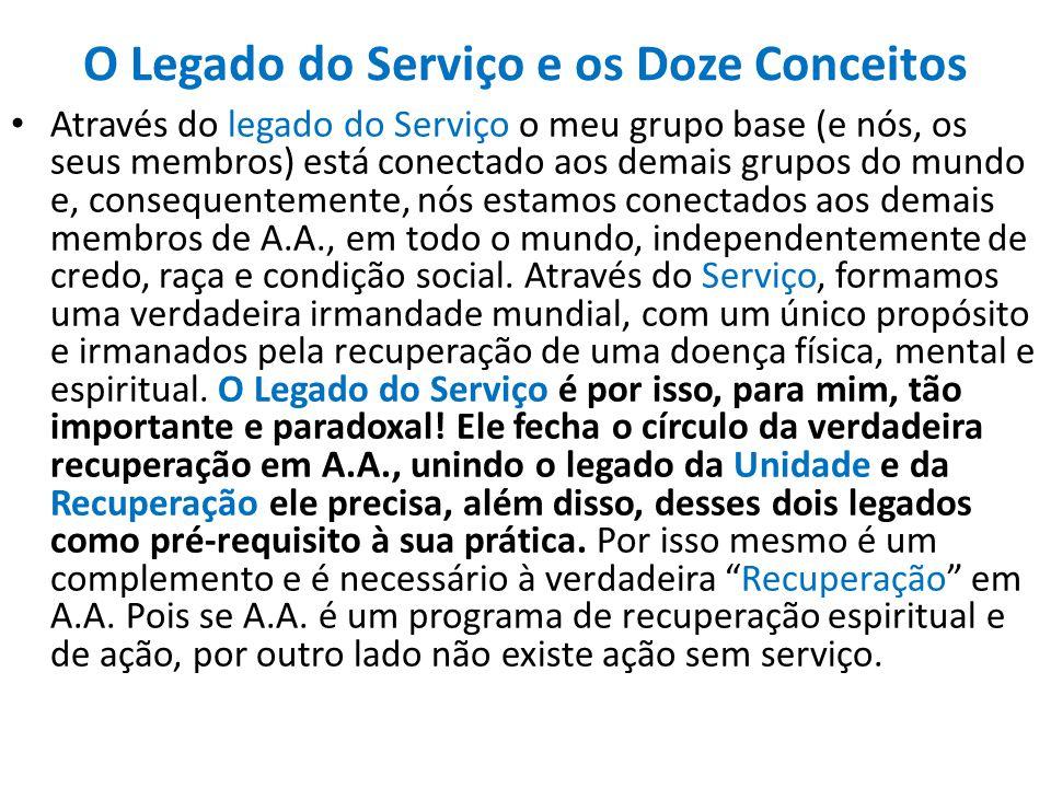 O Legado do Serviço e os Doze Conceitos Através do legado do Serviço o meu grupo base (e nós, os seus membros) está conectado aos demais grupos do mun