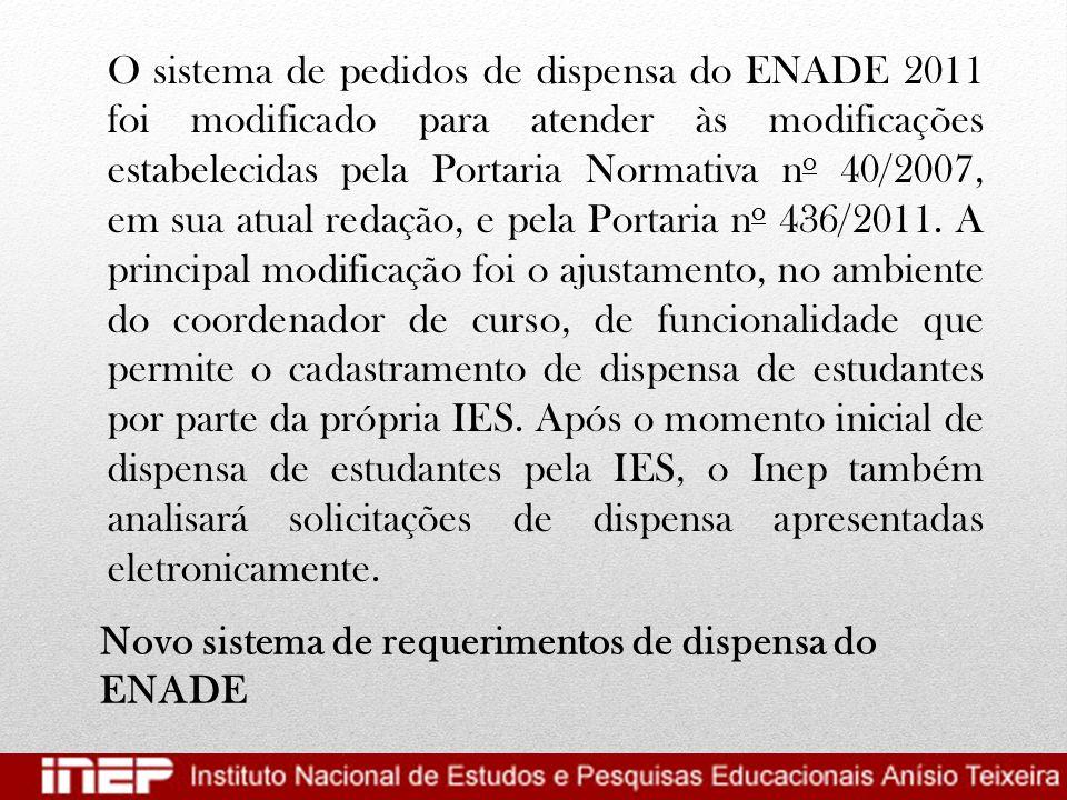 Novo sistema de requerimentos de dispensa do ENADE O sistema de pedidos de dispensa do ENADE 2011 foi modificado para atender às modificações estabele