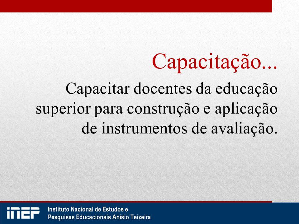 Capacitação... Capacitar docentes da educação superior para construção e aplicação de instrumentos de avaliação.