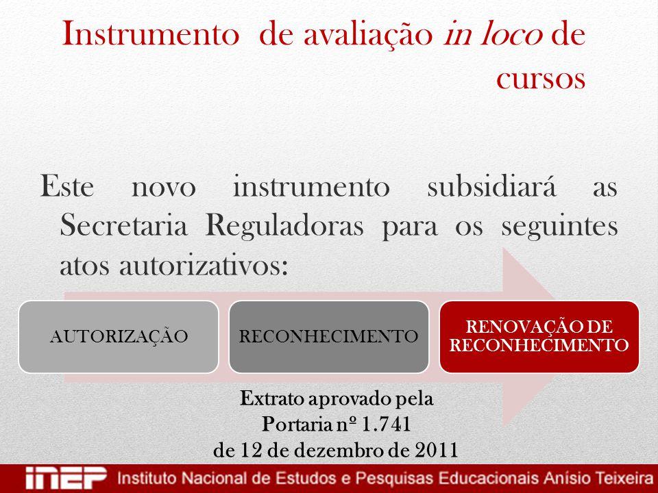 Instrumento de avaliação in loco de cursos Este novo instrumento subsidiará as Secretaria Reguladoras para os seguintes atos autorizativos: AUTORIZAÇÃ