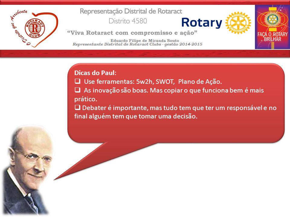 Dicas do Paul:  Use ferramentas: 5w2h, SWOT, Plano de Ação.