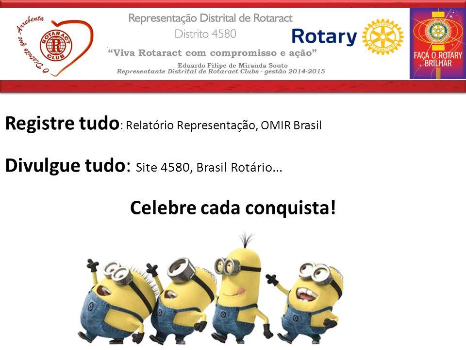 Registre tudo : Relatório Representação, OMIR Brasil Divulgue tudo: Site 4580, Brasil Rotário...