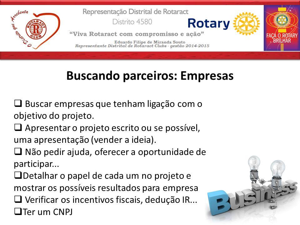 Buscando parceiros: Empresas  Buscar empresas que tenham ligação com o objetivo do projeto.