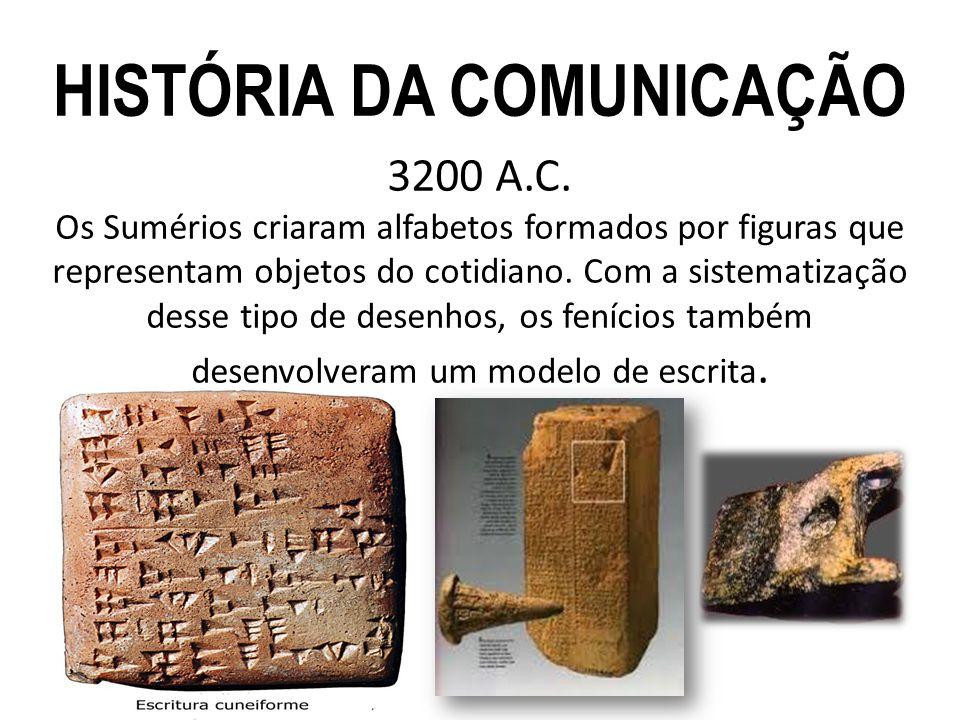 3200 A.C. Os Sumérios criaram alfabetos formados por figuras que representam objetos do cotidiano. Com a sistematização desse tipo de desenhos, os fen