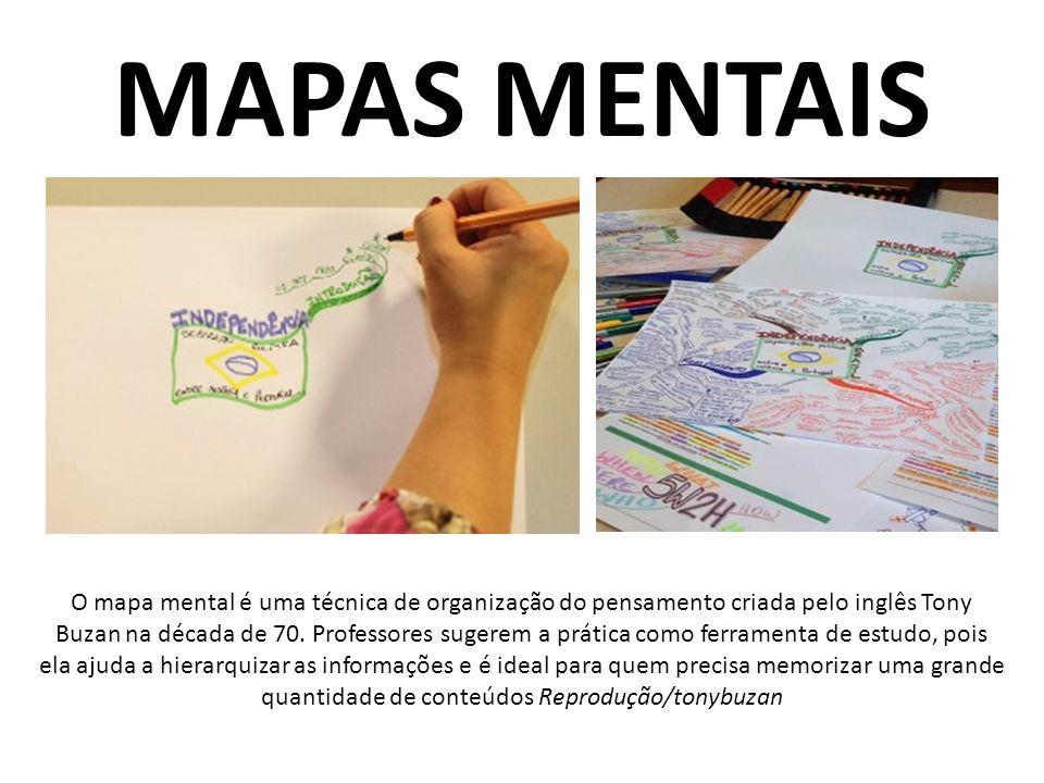 MAPAS MENTAIS O mapa mental é uma técnica de organização do pensamento criada pelo inglês Tony Buzan na década de 70. Professores sugerem a prática co