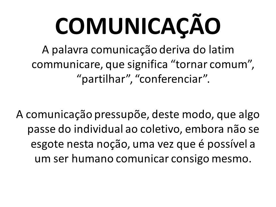 """COMUNICAÇÃO A palavra comunicação deriva do latim communicare, que significa """"tornar comum"""", """"partilhar"""", """"conferenciar"""". A comunicação pressupõe, des"""