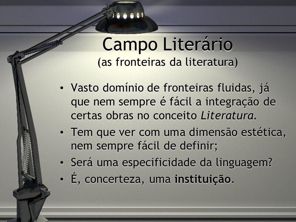 Campo Literário (as fronteiras da literatura) Vasto domínio de fronteiras fluidas, já que nem sempre é fácil a integração de certas obras no conceito Literatura.