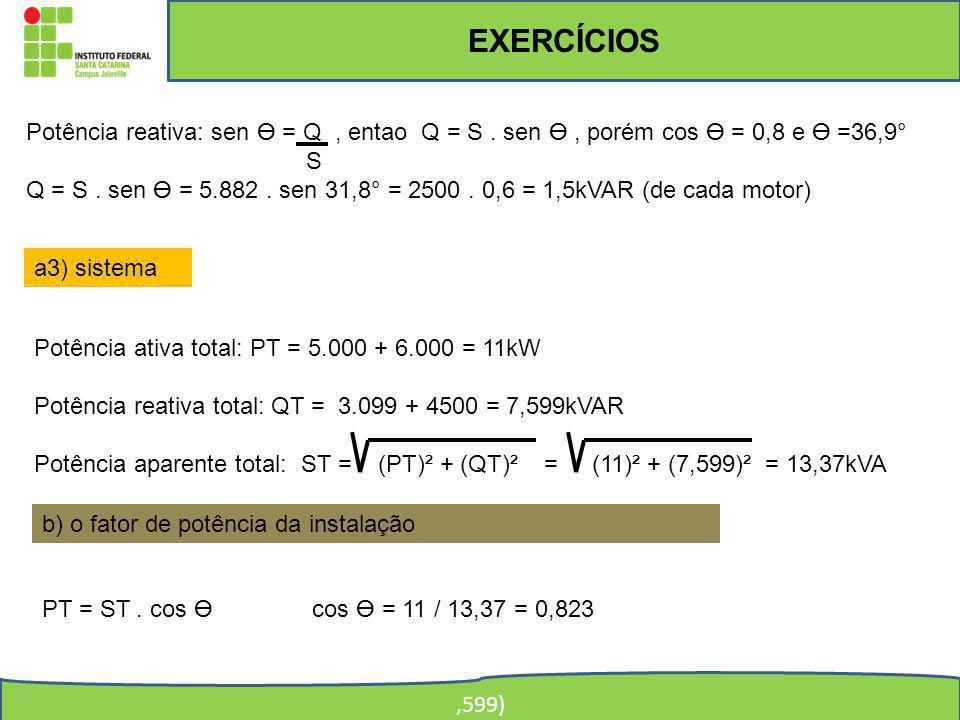 EXERCÍCIOS,599) Potência reativa: sen = Q, entao Q = S. sen, porém cos = 0,8 e =36,9° S Q = S. sen = 5.882. sen 31,8° = 2500. 0,6 = 1,5kVAR (de cada m