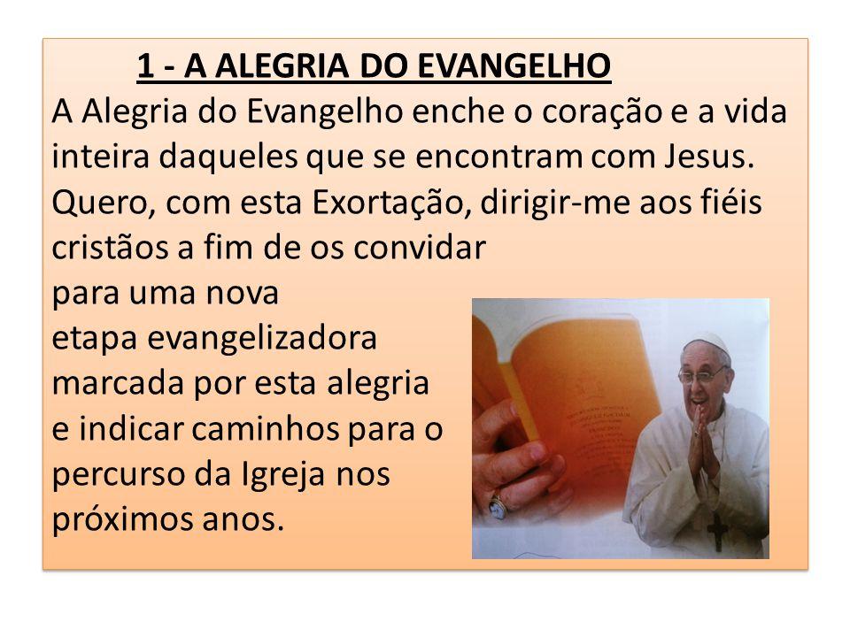 1 - A ALEGRIA DO EVANGELHO A Alegria do Evangelho enche o coração e a vida inteira daqueles que se encontram com Jesus. Quero, com esta Exortação, dir