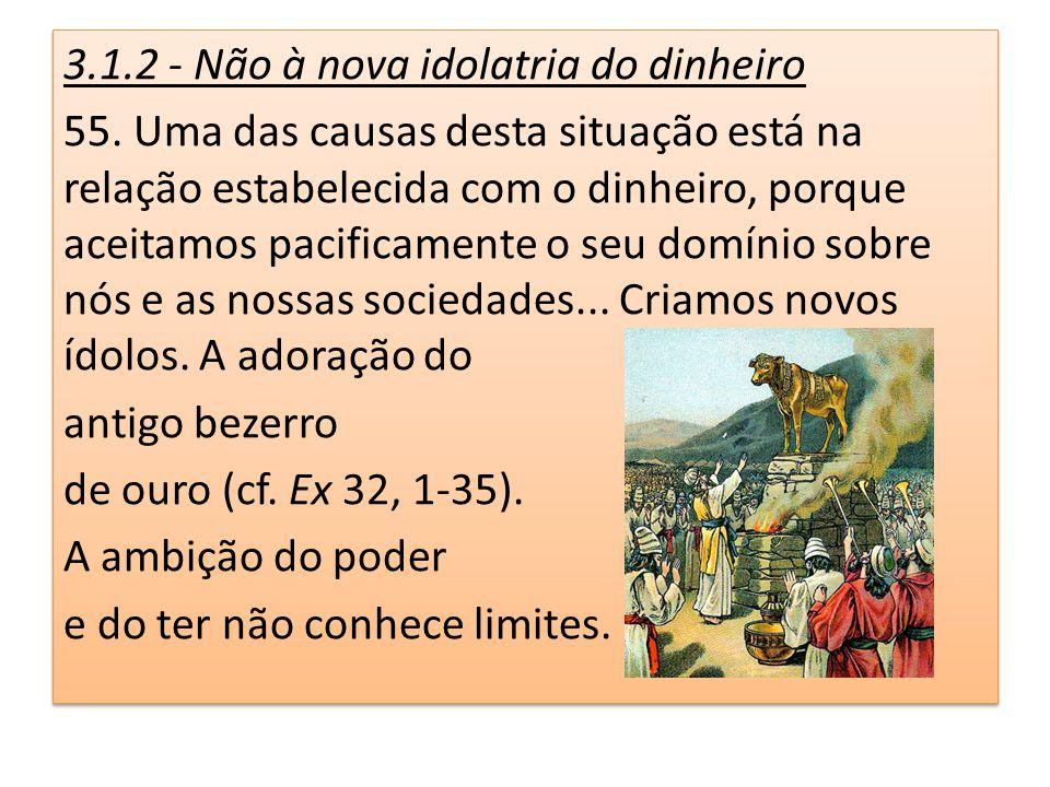 3.1.2 - Não à nova idolatria do dinheiro 55. Uma das causas desta situação está na relação estabelecida com o dinheiro, porque aceitamos pacificamente