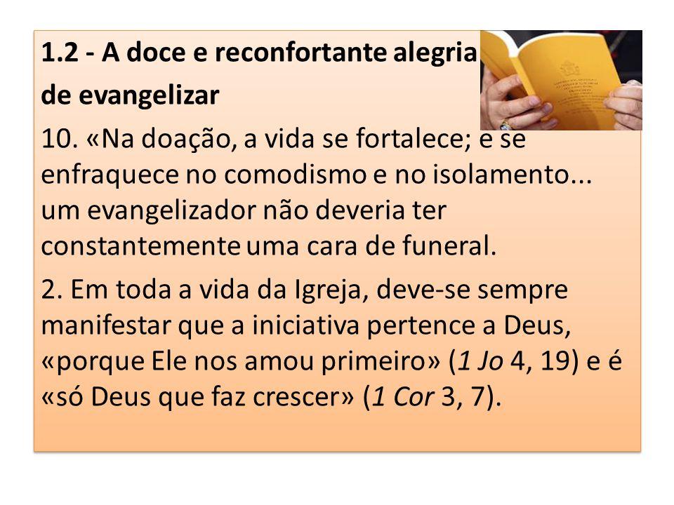 1.2 - A doce e reconfortante alegria de evangelizar 10. «Na doação, a vida se fortalece; e se enfraquece no comodismo e no isolamento... um evangeliza