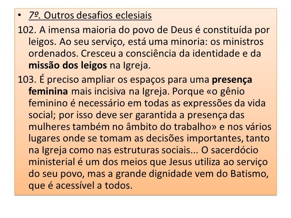 7º. Outros desafios eclesiais 102. A imensa maioria do povo de Deus é constituída por leigos. Ao seu serviço, está uma minoria: os ministros ordenados