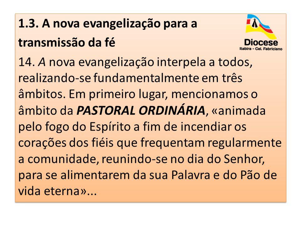 1.3. A nova evangelização para a transmissão da fé 14. A nova evangelização interpela a todos, realizando-se fundamentalmente em três âmbitos. Em prim
