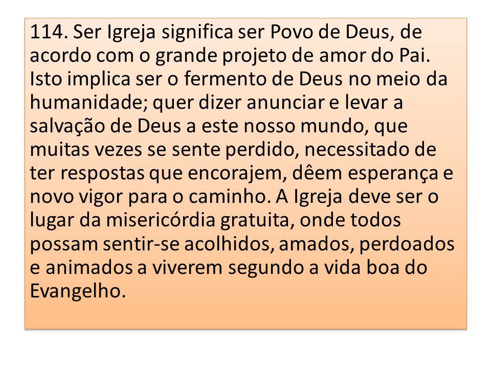 114. Ser Igreja significa ser Povo de Deus, de acordo com o grande projeto de amor do Pai. Isto implica ser o fermento de Deus no meio da humanidade;