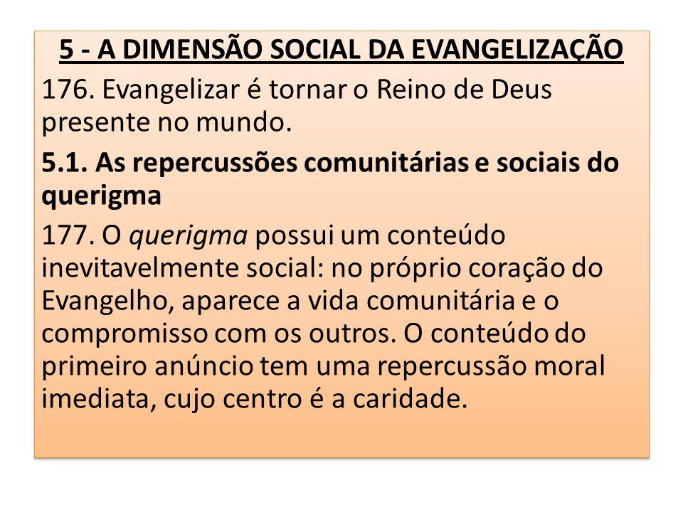 5 - A DIMENSÃO SOCIAL DA EVANGELIZAÇÃO 176. Evangelizar é tornar o Reino de Deus presente no mundo. 5.1. As repercussões comunitárias e sociais do que