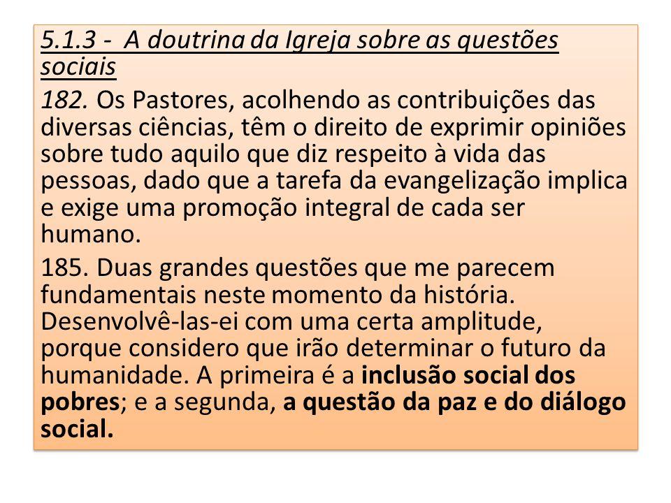 5.1.3 - A doutrina da Igreja sobre as questões sociais 182. Os Pastores, acolhendo as contribuições das diversas ciências, têm o direito de exprimir o