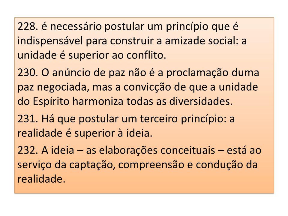 228. é necessário postular um princípio que é indispensável para construir a amizade social: a unidade é superior ao conflito. 230. O anúncio de paz n
