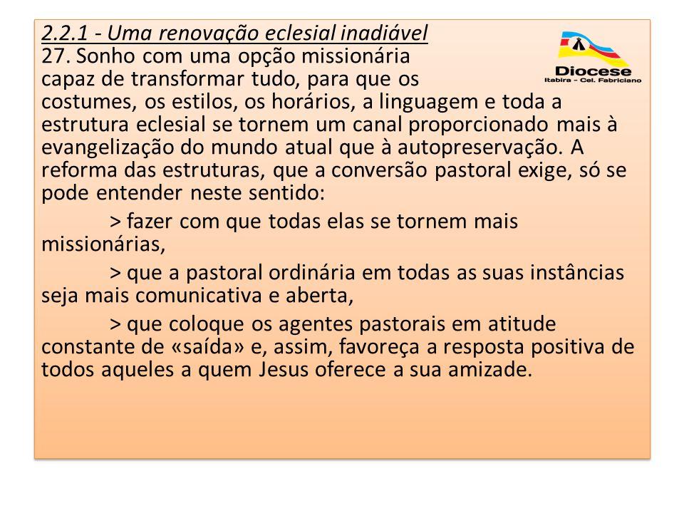 2.2.1 - Uma renovação eclesial inadiável 27. Sonho com uma opção missionária capaz de transformar tudo, para que os costumes, os estilos, os horários,