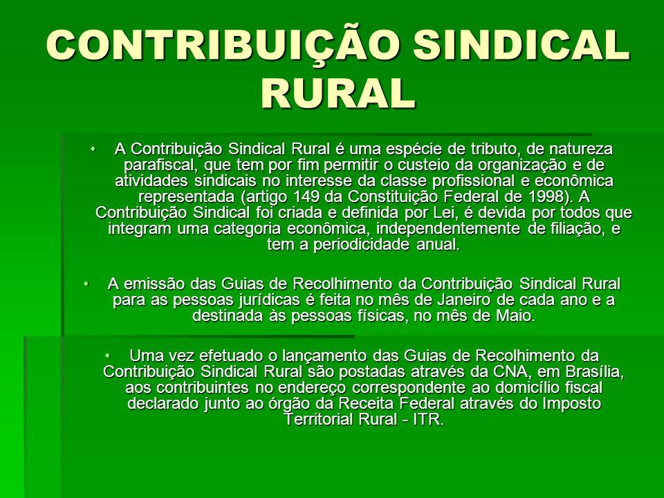 CONTRIBUIÇÃO SINDICAL RURAL A Contribuição Sindical Rural é uma espécie de tributo, de natureza parafiscal, que tem por fim permitir o custeio da organização e de atividades sindicais no interesse da classe profissional e econômica representada (artigo 149 da Constituição Federal de 1998).