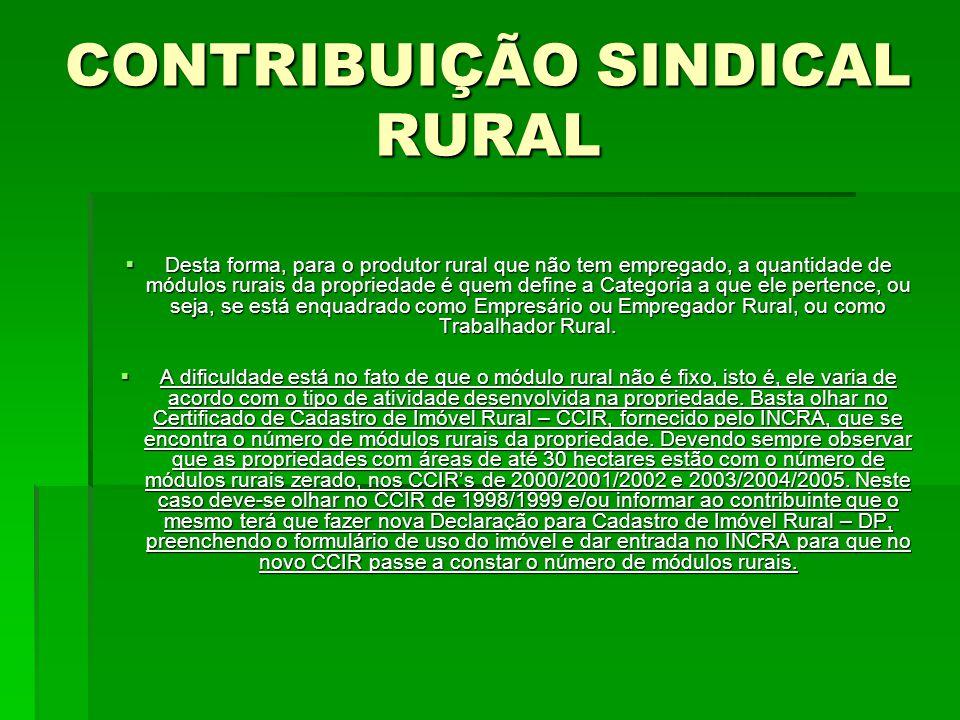 CONTRIBUIÇÃO SINDICAL RURAL  Desta forma, para o produtor rural que não tem empregado, a quantidade de módulos rurais da propriedade é quem define a Categoria a que ele pertence, ou seja, se está enquadrado como Empresário ou Empregador Rural, ou como Trabalhador Rural.
