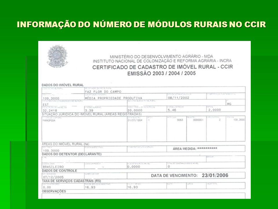INFORMAÇÃO DO NÚMERO DE MÓDULOS RURAIS NO CCIR