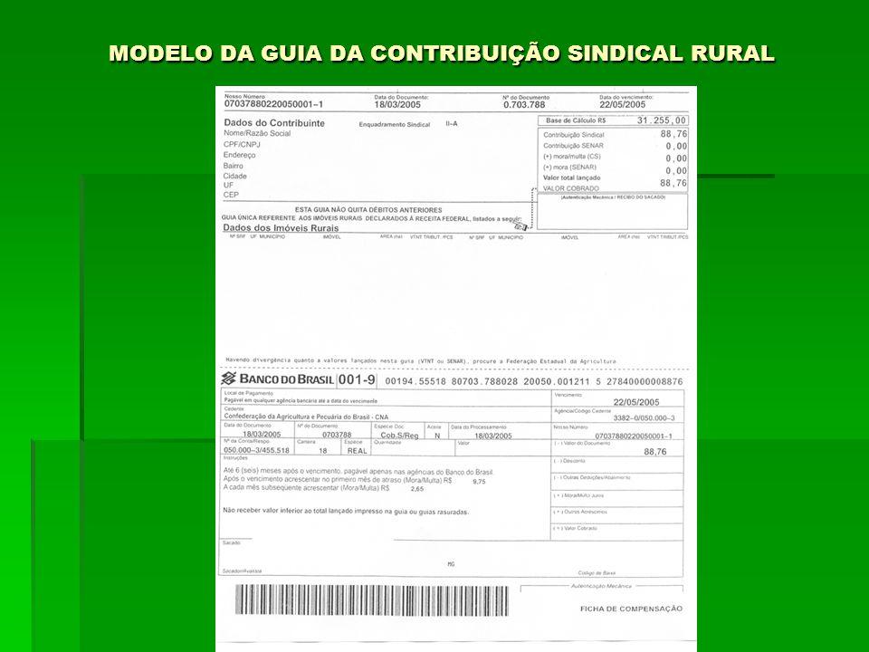 MODELO DA GUIA DA CONTRIBUIÇÃO SINDICAL RURAL