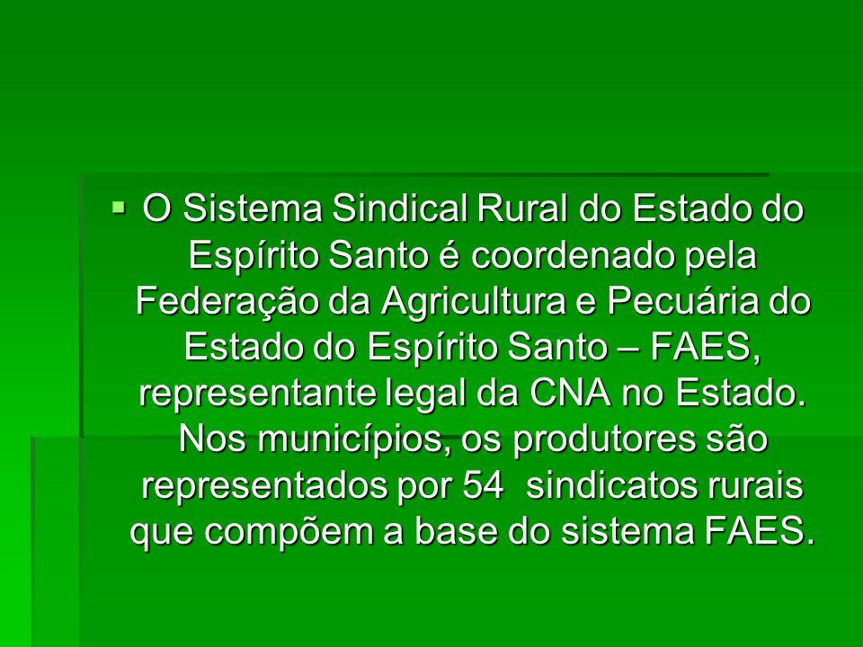  O Sistema Sindical Rural do Estado do Espírito Santo é coordenado pela Federação da Agricultura e Pecuária do Estado do Espírito Santo – FAES, representante legal da CNA no Estado.
