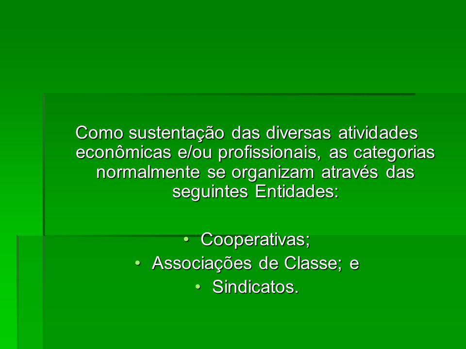Como sustentação das diversas atividades econômicas e/ou profissionais, as categorias normalmente se organizam através das seguintes Entidades: Cooperativas;Cooperativas; Associações de Classe; eAssociações de Classe; e Sindicatos.Sindicatos.