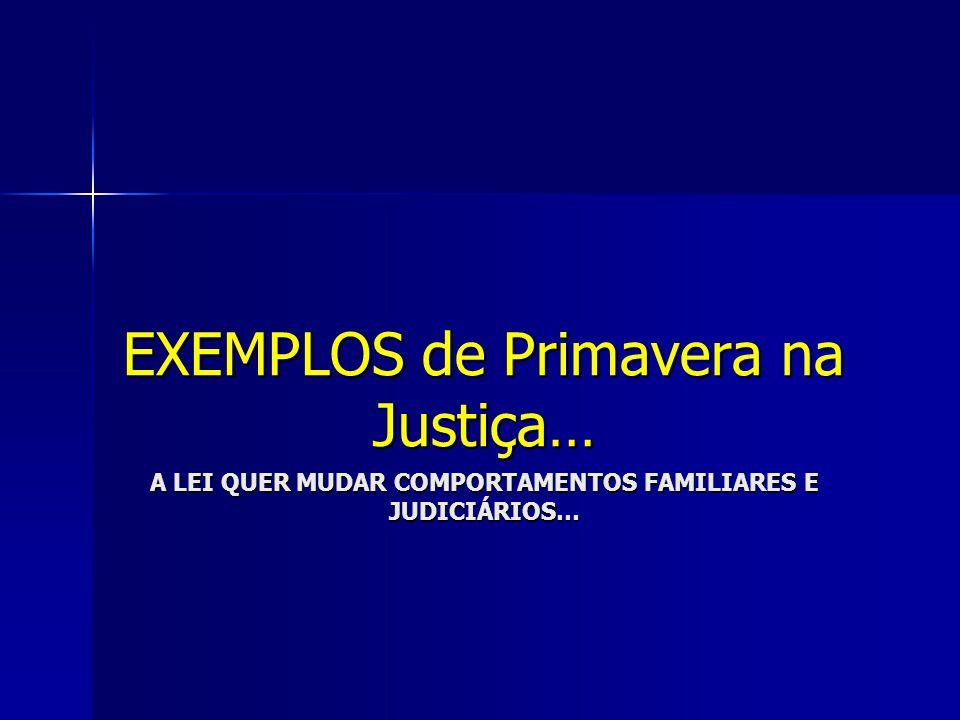 A LEI QUER MUDAR COMPORTAMENTOS FAMILIARES E JUDICIÁRIOS… EXEMPLOS de Primavera na Justiça…
