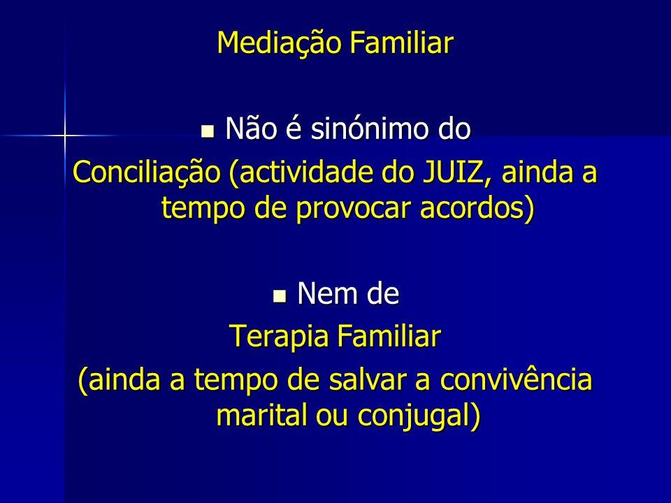 Mediação Familiar Não é sinónimo do Não é sinónimo do Conciliação (actividade do JUIZ, ainda a tempo de provocar acordos) Nem de Nem de Terapia Familiar (ainda a tempo de salvar a convivência marital ou conjugal)