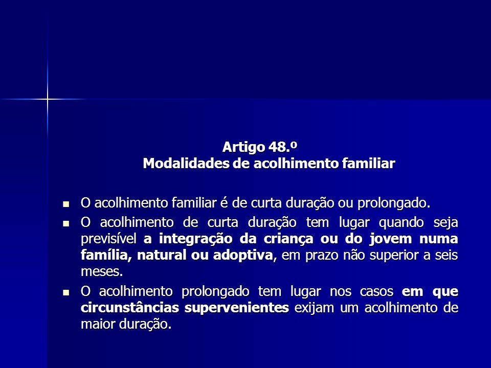 Artigo 48.º Modalidades de acolhimento familiar O acolhimento familiar é de curta duração ou prolongado.