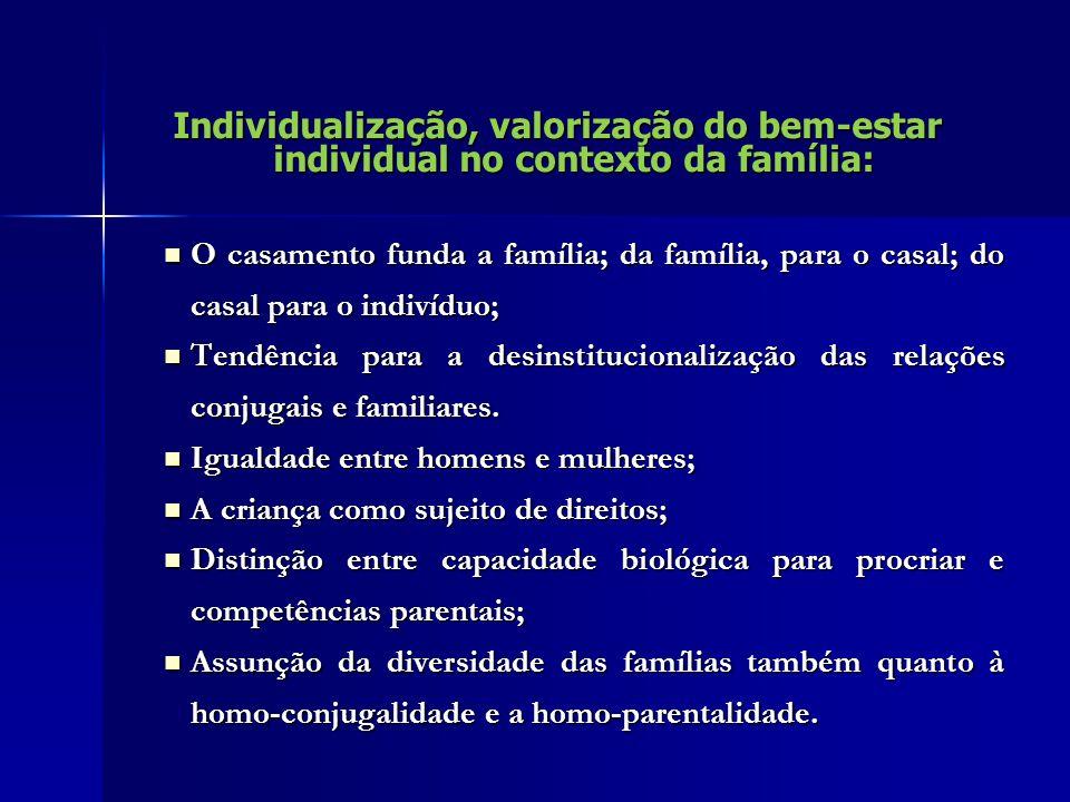 Individualização, valorização do bem-estar individual no contexto da família: O casamento funda a família; da família, para o casal; do casal para o indivíduo; O casamento funda a família; da família, para o casal; do casal para o indivíduo; Tendência para a desinstitucionalização das relações conjugais e familiares.