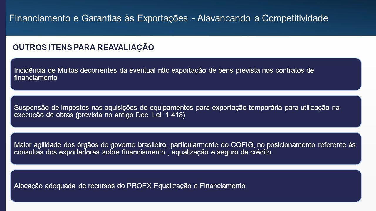 Incidência de Multas decorrentes da eventual não exportação de bens prevista nos contratos de financiamento Suspensão de impostos nas aquisições de equipamentos para exportação temporária para utilização na execução de obras (prevista no antigo Dec.