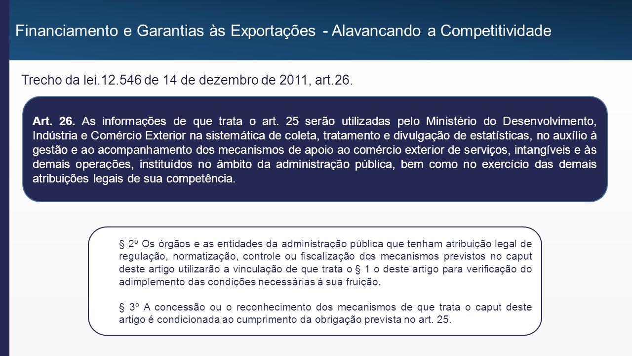 Financiamento e Garantias às Exportações - Alavancando a Competitividade Trecho Portaria Conjunta RFB/SCS 1.603 de 11 de novembro de 2013, art.1°, item III, a e b.