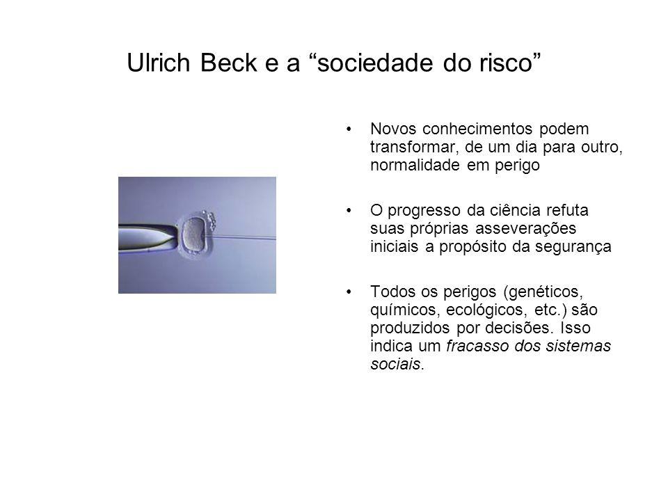 Ulrich Beck e a sociedade do risco Novos conhecimentos podem transformar, de um dia para outro, normalidade em perigo O progresso da ciência refuta suas próprias asseverações iniciais a propósito da segurança Todos os perigos (genéticos, químicos, ecológicos, etc.) são produzidos por decisões.
