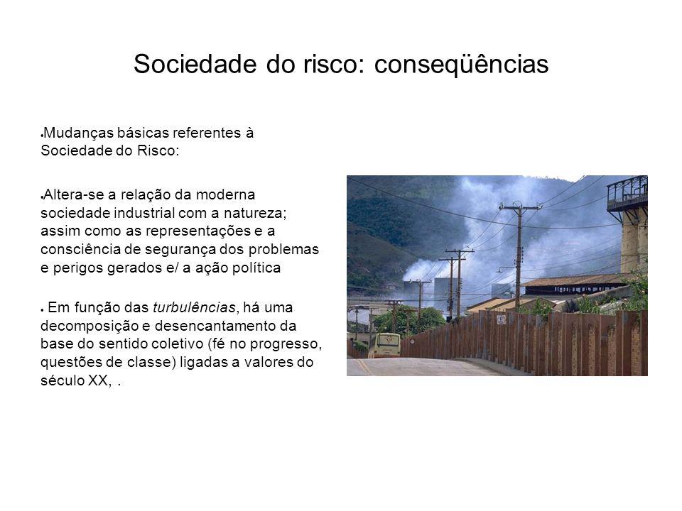 Sociedade do risco: conseqüências  Mudanças básicas referentes à Sociedade do Risco:  Altera-se a relação da moderna sociedade industrial com a natu