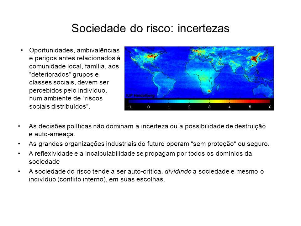 Sociedade do risco: incertezas As decisões políticas não dominam a incerteza ou a possibilidade de destruição e auto-ameaça. As grandes organizações i
