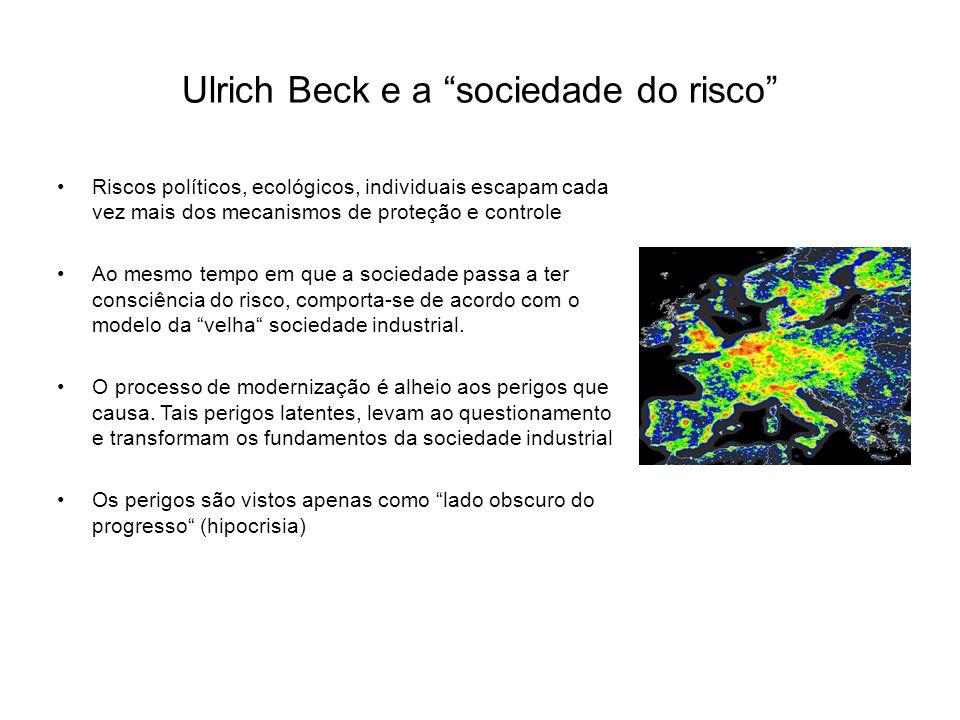 Ulrich Beck e a sociedade do risco Riscos políticos, ecológicos, individuais escapam cada vez mais dos mecanismos de proteção e controle Ao mesmo tempo em que a sociedade passa a ter consciência do risco, comporta-se de acordo com o modelo da velha sociedade industrial.