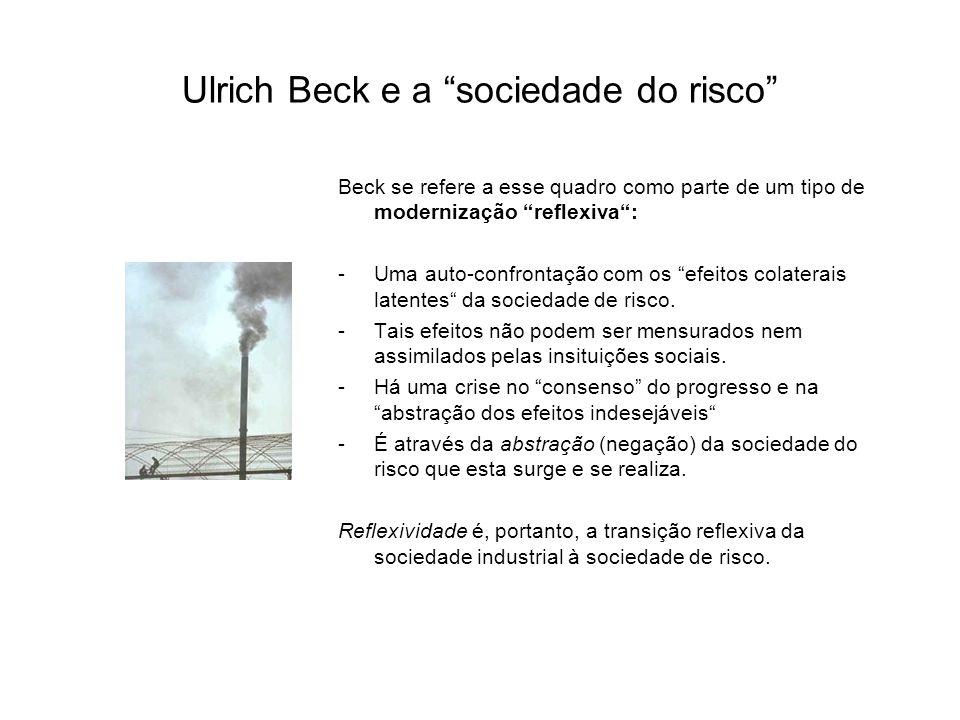 Ulrich Beck e a sociedade do risco Beck se refere a esse quadro como parte de um tipo de modernização reflexiva : -Uma auto-confrontação com os efeitos colaterais latentes da sociedade de risco.