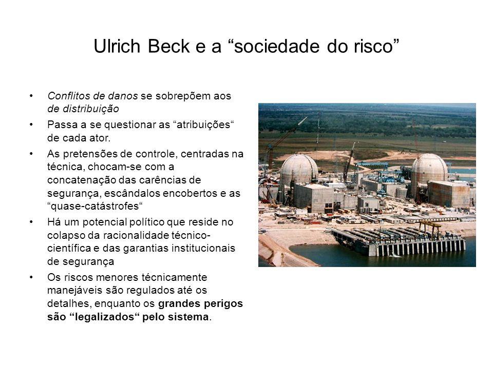 """Ulrich Beck e a """"sociedade do risco"""" Conflitos de danos se sobrepõem aos de distribuição Passa a se questionar as """"atribuições"""" de cada ator. As prete"""