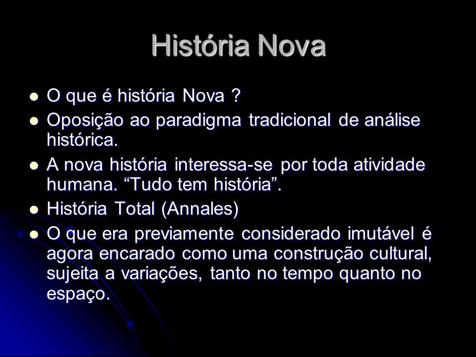 História Nova O que é história Nova ? O que é história Nova ? Oposição ao paradigma tradicional de análise histórica. Oposição ao paradigma tradiciona