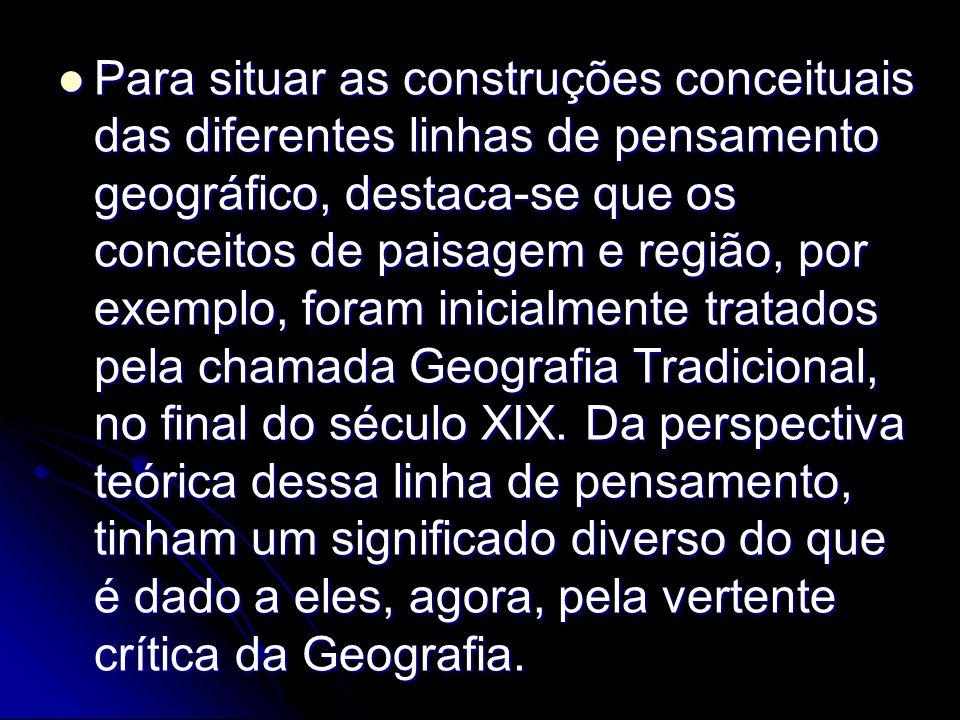 Para situar as construções conceituais das diferentes linhas de pensamento geográfico, destaca-se que os conceitos de paisagem e região, por exemplo,