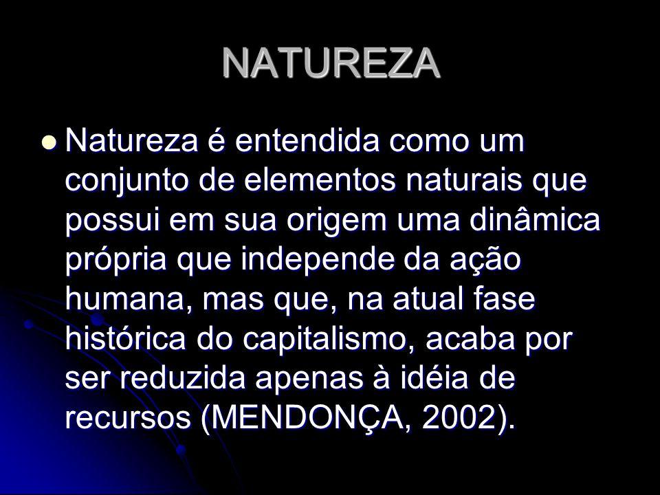 NATUREZA Natureza é entendida como um conjunto de elementos naturais que possui em sua origem uma dinâmica própria que independe da ação humana, mas que, na atual fase histórica do capitalismo, acaba por ser reduzida apenas à idéia de recursos (MENDONÇA, 2002).
