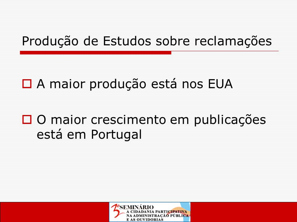 Produção de Estudos sobre reclamações  A maior produção está nos EUA  O maior crescimento em publicações está em Portugal