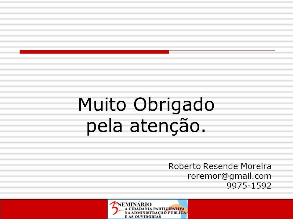 Muito Obrigado pela atenção. Roberto Resende Moreira roremor@gmail.com 9975-1592
